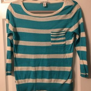 Autumn Cashmere Aqua Stripe Pocket Sweater/Knit XS